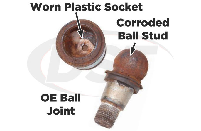 corroded ball joint with plastic socket
